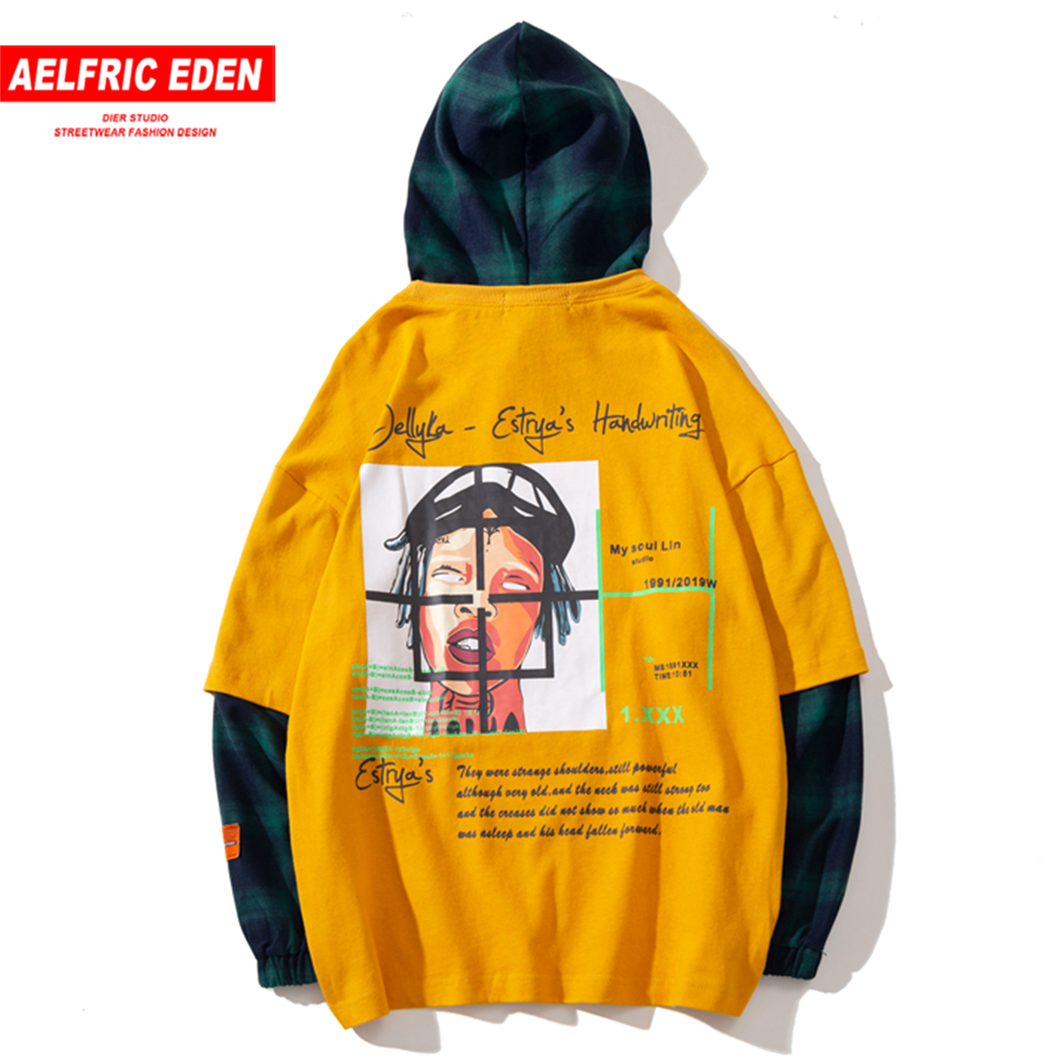 Aelfric Eden Hip Hop Plaid Letter Printed Hooded Sweatshirts