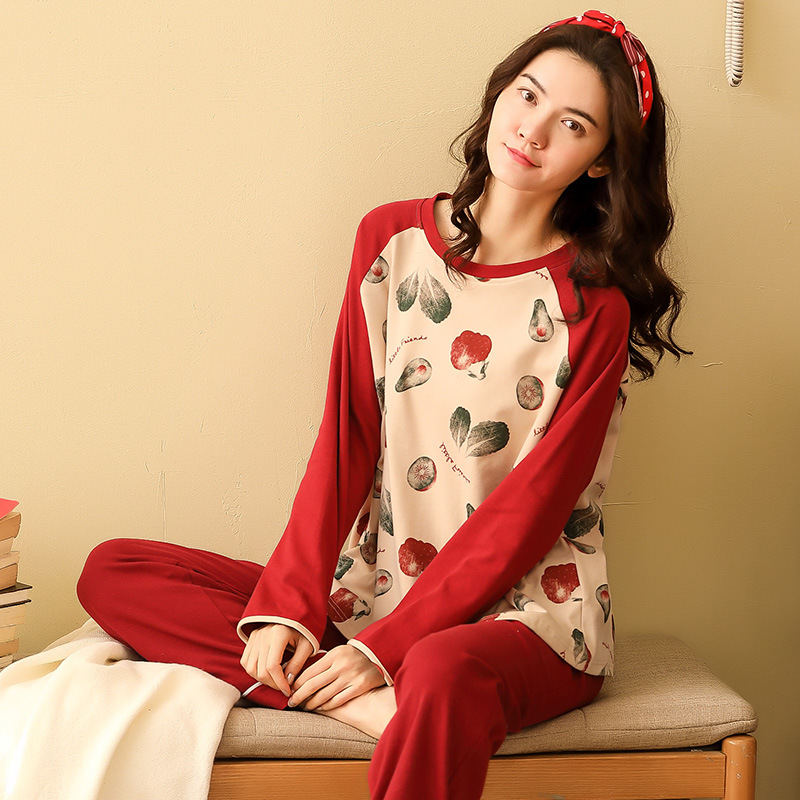 Women Pajamas Sets Spring Autumn Long Sleeve Print Cute Cotton Sleepwear Big Girl Pijamas Mujer Leisure Student Pajama Tracksuit 29