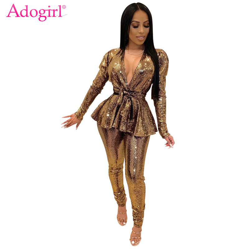 Adogirl Fashion Sequins Gilding Two Piece Set Sexy Deep V Neck Puff Long Sleeve Ruffle Blazer Jacket Top With Belt Pencil Pants