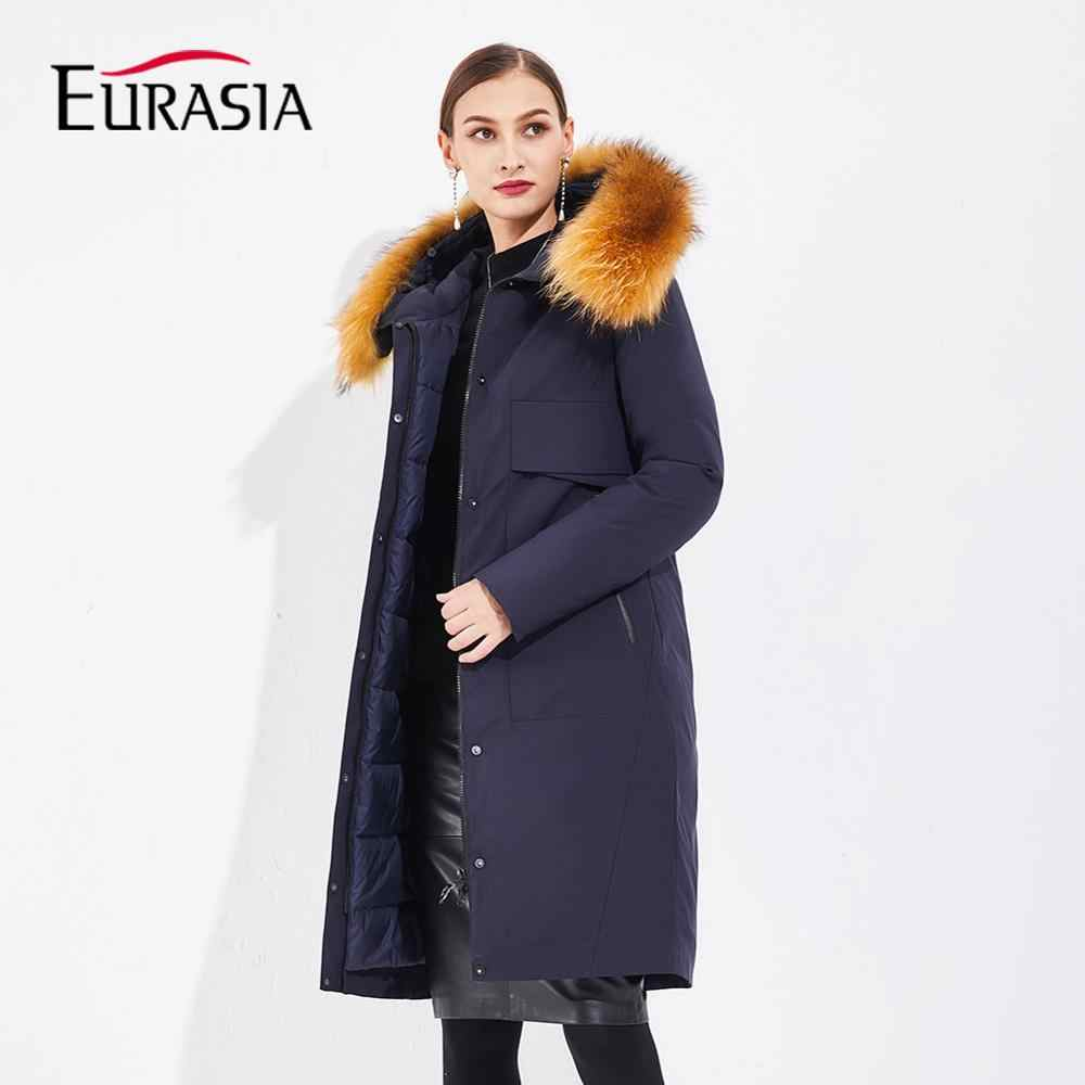 EURASIA 2019 New Women Winter Jacket Full Long Real Raccoon Fur Warm Parkas Outerwear Clothes Hooded Thick Puffer Coat YD1876