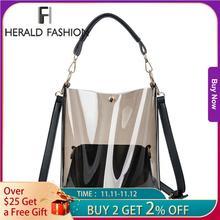 Herald Fashion sac à main Transparent femmes, 2 pièces, sac à bandoulière clair en gelée de bonbons dété plage, sacoche