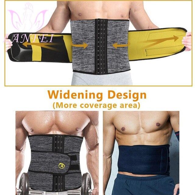LANFEI Men Waist Trainer Slimming Belt Body Shaper Sweat Sauna Modeling Strap Workout Waist Trimmer Weight Loss Corset Plus Size 2