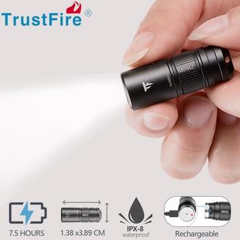 Trustfire Mini2 Rechargeable Mini LED Flashlight USB Keychain 250Lumens Pocket Light IPX8 EDC Portable Flashlights Lamp