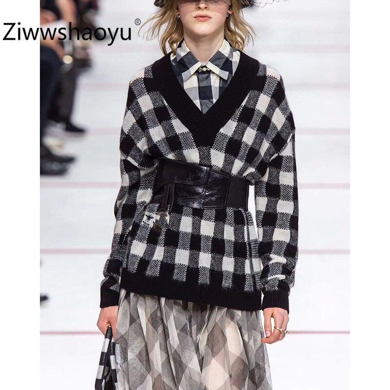 Ziwwshaoyu Designer automne hiver noir blanc pull à carreaux pulls femmes mode lâche col en v tricot pulls hauts