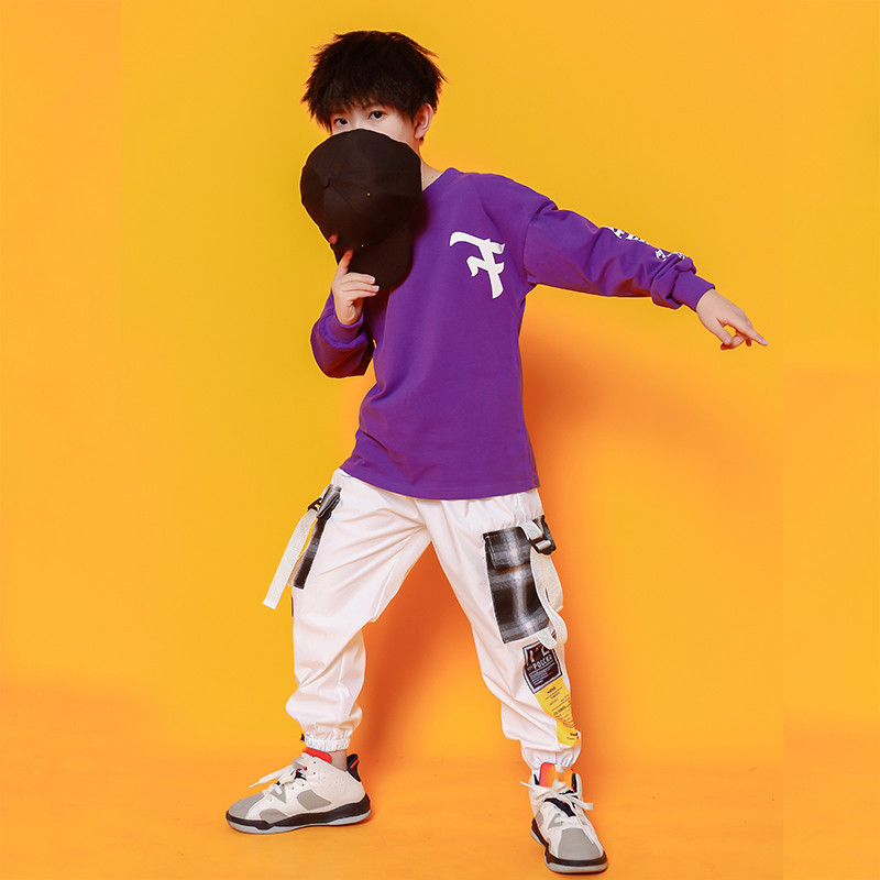 Boys Hip Hop Costumes Purple Shirts Fashion Ballroom Dance Costume Girls Jazz Clothes Set Loose Pants Dancewear for Children (7)