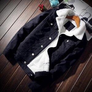 Image 4 - ผู้ชาย Denim แจ็คเก็ตอินเทรนด์ฤดูหนาว Warm Fleece บุรุษ Outwear แฟชั่น Jean แจ็คเก็ตชายคาวบอยสบายๆขนาด 5XL 6XL