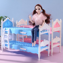 30 cm Barbies doll bunk bed model accessories building blocks assembled girl play house toy gift