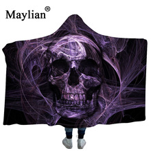 Skull Horror  Dreamcatcher Collection Hooded Blanket Sherpa Fleece Wearable plush Throw on Bed Sofa Thick warm B64