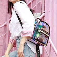 Menogga2019 Laser Backpack 10 Inch Mini Backpacks for Teenage Girls Transparent PVC Floral Waterproof Small Cute