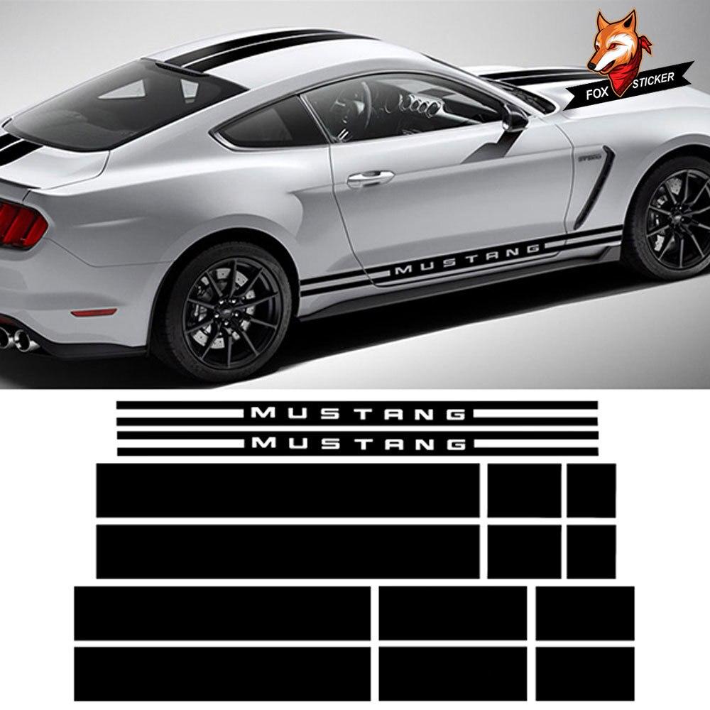 1 комплект гоночная полоса комплект кузова наклейки на автомобиль капот крыша двигателя задние боковые полосы автомобиля Наклейка для Ford Mustang 2015 2017