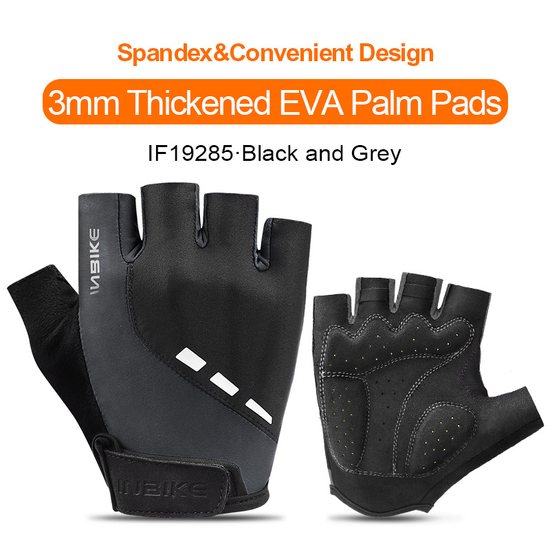 IF19285-Grey-INBIKE Summer Men Women Half Finger Shockproof Cycling Gloves