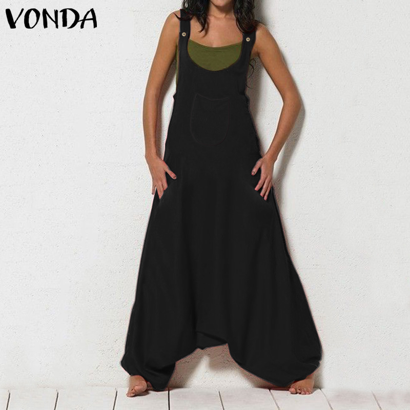 VONDA Vintage Overalls Women Sleeveless Rompers 2019 Female Wide Leg Jumpsuit Harem Pants Pantalon Femme Plus Size Palysuits