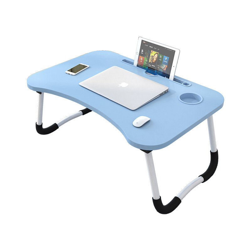 Multifunctional Folding Computer Desk Wooden Foldable Laptop Table With Slot Hole Stand Holder Study Table Desk For Bed Sofa