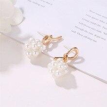 Korean Version of Hot Selling Ya Jin Earrings Temperament Asymmetric Knot Pearl Wholesale Tassle