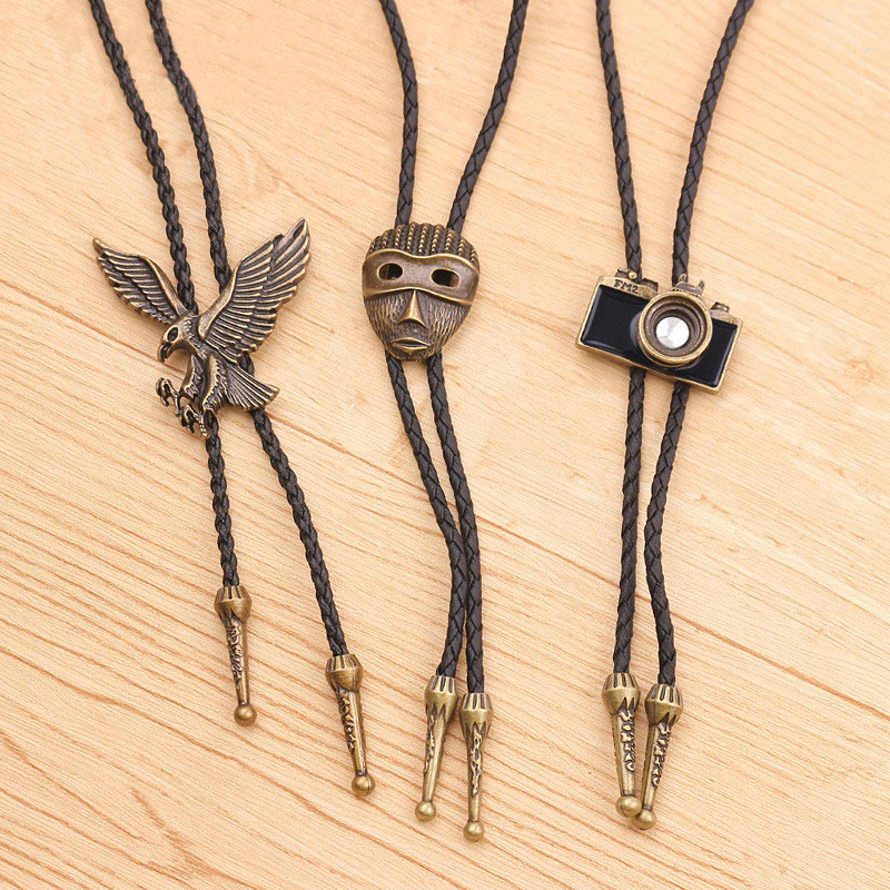 Fashion Bolo Tie Hand-knitted Leather Rope Long Sweater Chain Retro Camera Eagle Mask Necklace Wholesale Bow Tie