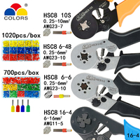Ferramentas de friso alicates terminais tubulares elétricos caixa mini braçadeira hsc8 10 s 0.25 10mm2 23 7awg 6 4b/6 6 0.25 6mm2 16 4 conjuntos de ferramentas|crimping pliers|terminal tool|pliers crimping -
