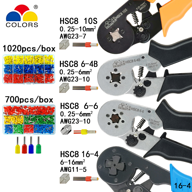 Aletler'ten Penseler'de Sıkma pensesi pense elektrik boru terminalleri kutusu mini kelepçe HSC8 10S 0.25 10mm2 23 7AWG 6 4B/6 6 0.25 6mm2 16 4 araçları setleri title=