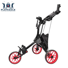 PLAYEAGLE golf 3 wheels Trolley Easy Golf Push Cart Pull Cart Black Golf Troleys  in Golf Course Foldable Golf Cart