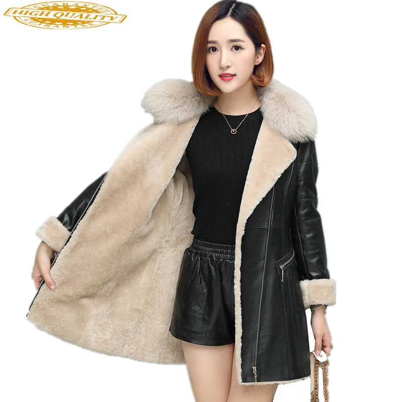 Winter Sheepskin Coat For Women Double-faced Fur Coats Thick Warm Genuine Leather Jacket Natural Fox Fur Collar WYQ986