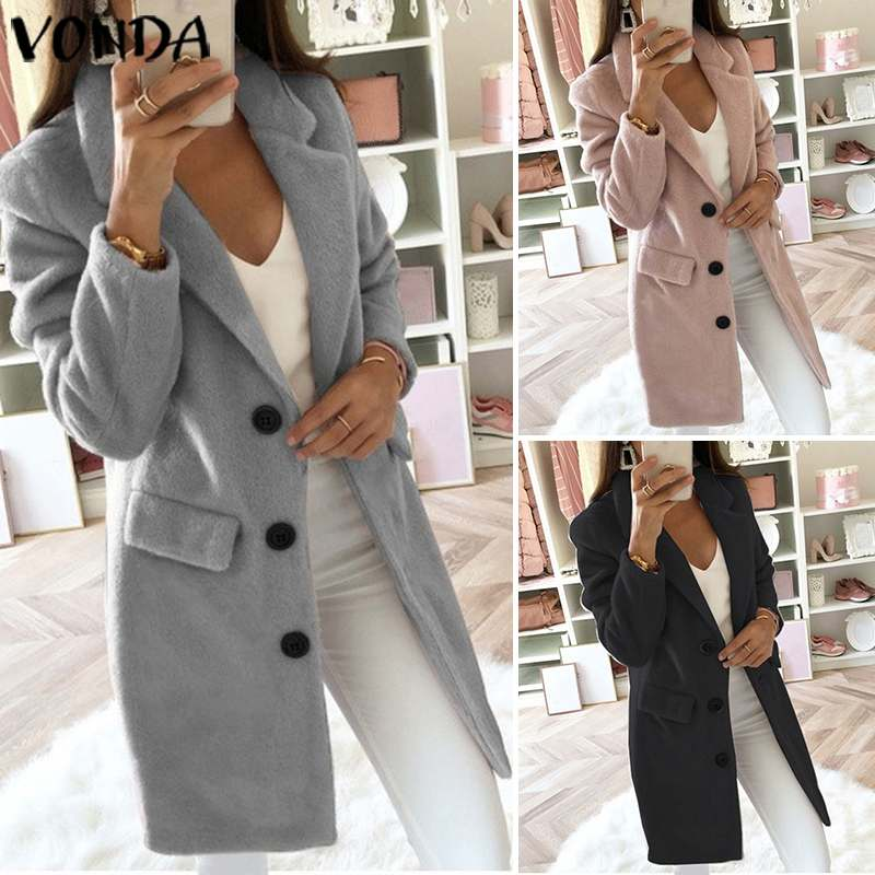 VONDA 2019 Autumn New Women's Casual Trench Coats Casual Button Pockets Solid Long Windbreaker Vintage Blends Coats Plus Size