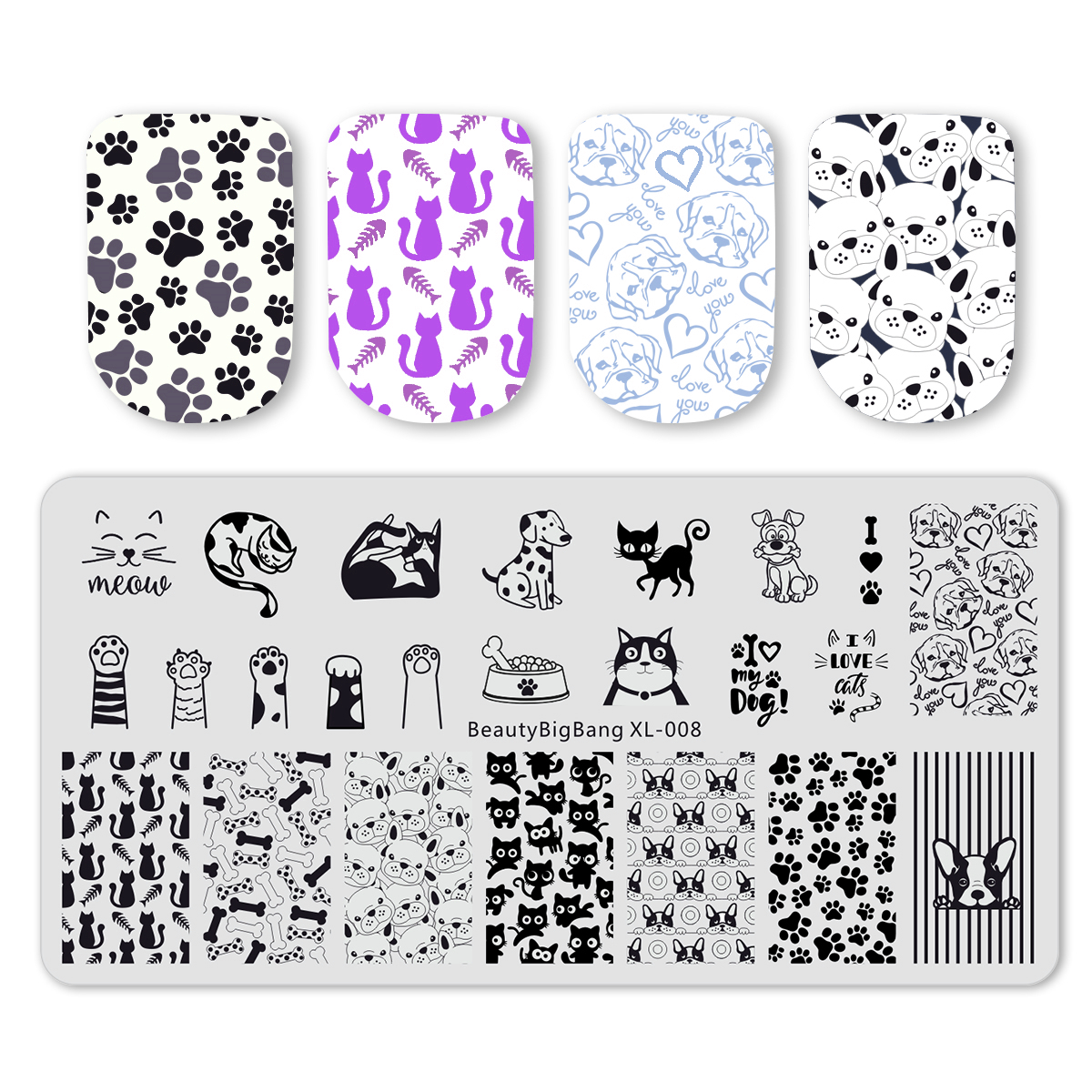 Image 2 - BeautyBigBang 6*12cm Stamping For Nails Cat Dog Image Plate Nail Stamping Plates Nail Art Template Mold BBB XL 008-in Nail Art Templates from Beauty & Health