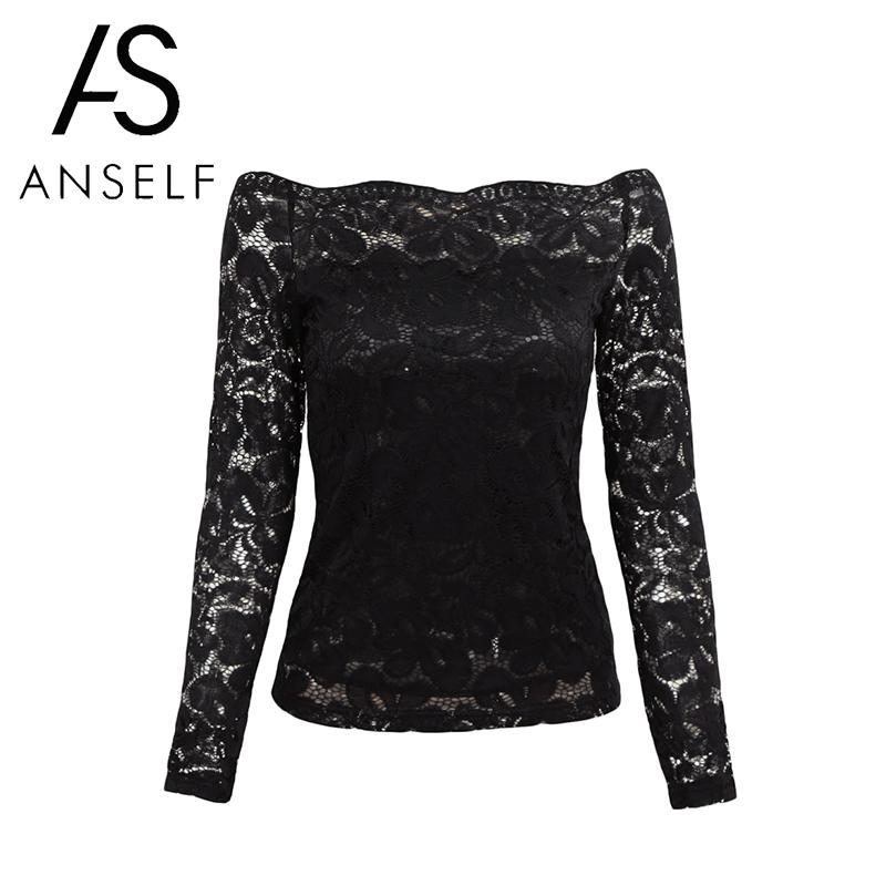 Anself Sexy Plus Size Lace Top Women Hollow Out Off Shoulder Lace Blouse Slash Neck Long Sleeves Elegant Ladies 5XL Shirt Tops
