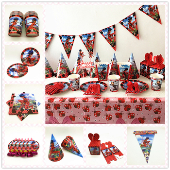 Ladybug Theme Kids Favor Birthday Pack Event Party Cute Cups Plates Napkins Box Baby Shower Disposable Tableware Party Supplies space party theme disposable tableware paper cups napkins tablecloths birthday decorations for children party supplies