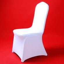 Cubierta para silla de LICRA blanca para Hotel, cubierta para silla de LICRA Fiesta de bodas, banquete de cena de Navidad, oficina, 50/100 Uds.