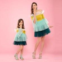 Милое цветное фатиновое платье mni для мамы и дочки короткое