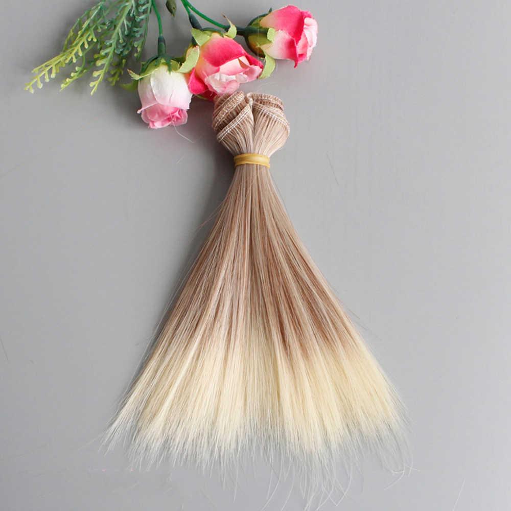 Nova boneca peruca moda gradientes de cor cabelo liso 25cm * 100 centímetros para o brinquedo do bebê e lance sd diy cabelos do bebê boneca acessórios