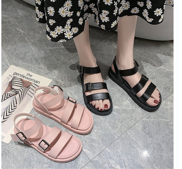Breathable Classic Black Platform Sandals Women Buckle Casual Shoes Summer Women Sandals Beach Shoes Flat Shoes Women