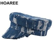 Newsboy Cap Light-Blue Autumn Hat Army-Cap Hole-Flat-Cap Vintage Women Denim Spring Brand