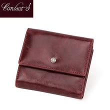 Cuir véritable femmes portefeuilles rouge portefeuille court pochette de luxe femme sac à main porte carte porte monnaie dame sac Cartera Mujer