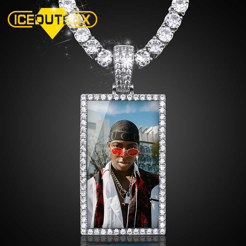 Rectangle Custom Made Photos Medallions Pendant Necklace With AAA Cubic Zircon Rope Cuban Tennis Chain Drop Shipping Gift Box