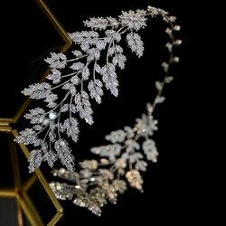 ASNORA  Fashion women's hair with bridal jewelry Tiara wedding headband jewelry leaves leaves headband zirconia crystal crown