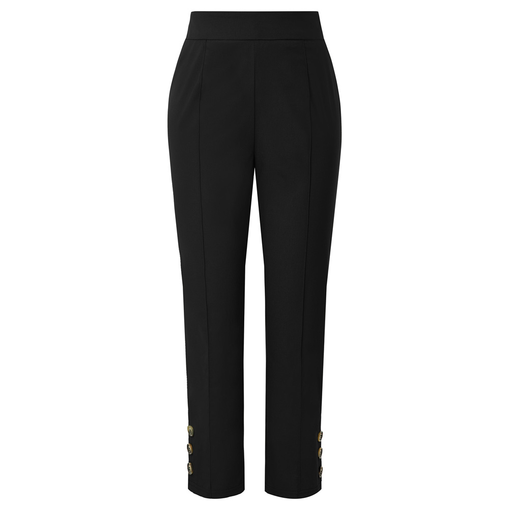 Black/Army Green Women Ankle Length   Pants   autumn fashion   Capri   Trousers Buttons Decorated Side Zipper fitting casual   pants   lady