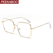 Peekaboo mens oversized glasses anti light blue retro clear lens female eyeglasses prescription high quality gold metal frame(China)
