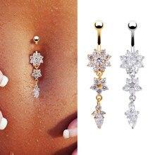 Nova moda sexy piercing umbigo prega a flor pingo de cristal peça quantidade de estoque
