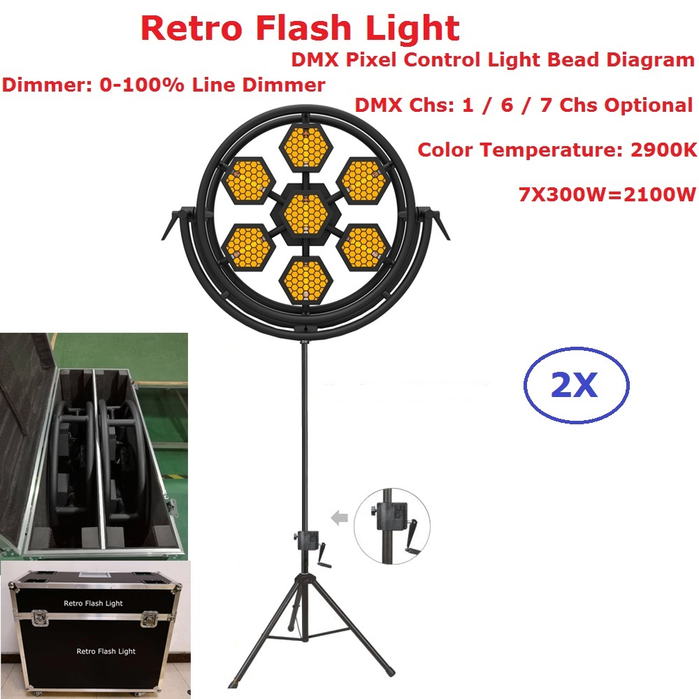 2XLot Flightcase Pack Stage Strobe Lights 7X300W Halogen Lamp Retro Flash Light Hexagon Or Round Optional 1/6/7 DMX Channels
