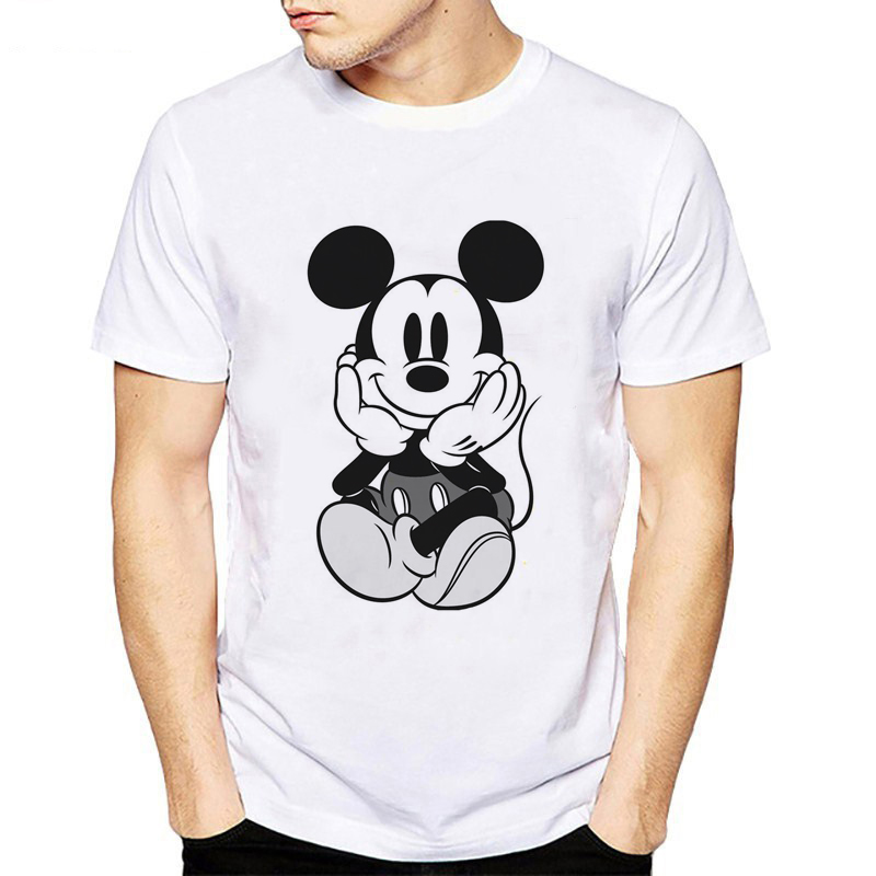 T Shirt Men New Fashion Street Style Mickey Printed T-shirts Soft Lovely Cartoon T-shirt Men Hot Sale Tee Shirt Hipster Tops Tee