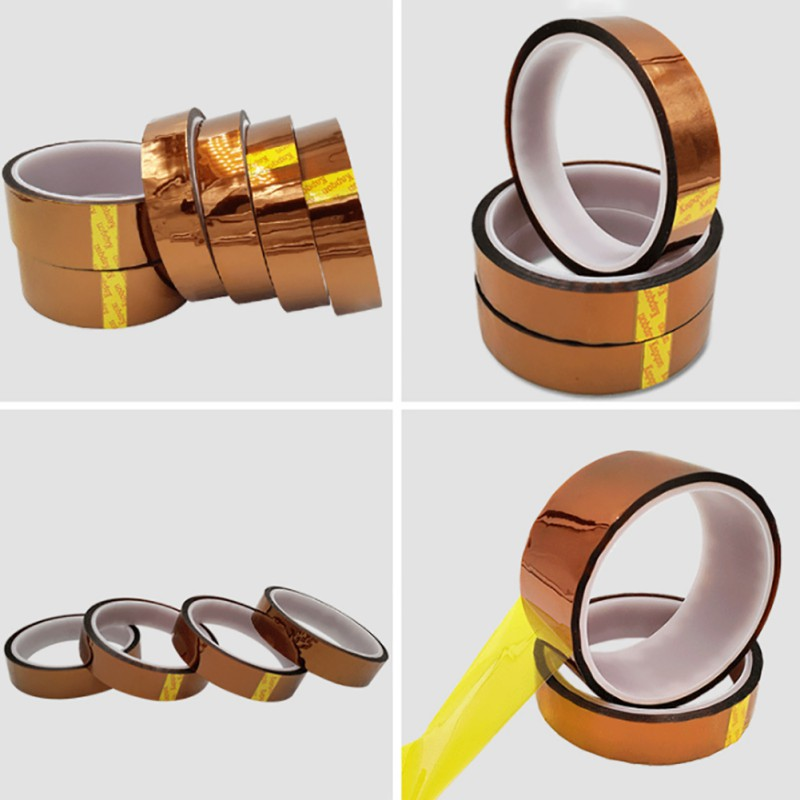 AAA+++1 Pcs 3/5/6/8/10/12/15/20MM X 33M Brown High Temperature Resistant Kapton Tape Polyimide For Electric Task Insulation Tape