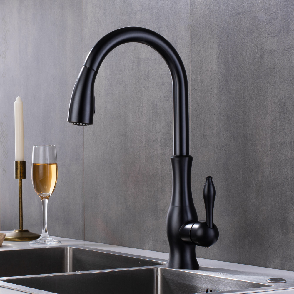 Kitchen Faucets Sink Black Taps Single Handle Pull Out Kitchen Tap Swivel 360 Water Mixer Tap 2 Features for kitchen