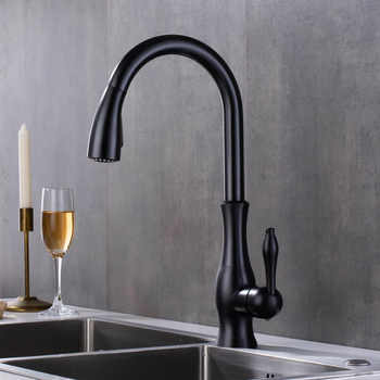 Kitchen Faucets Sink Black Taps Single Handle Pull Out Kitchen Tap Swivel 360 Water Mixer Tap 2 Features for kitchen - DISCOUNT ITEM  49% OFF All Category