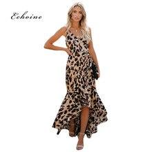 Echoine Party Elegant Dress Women Leopard Print Spaghetti Straps Sleeveless Maxi Ruffle Asymmetrical Hem Lady Highstreet Outfits недорого