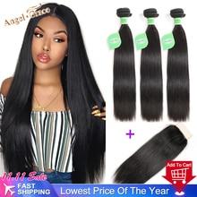 Angel Grace Nieuwe 2020 Steil Haar Bundels Met Sluiting Menselijk Haar 3 Bundels Met Hd Sluiting Brazilian Hair Weave Bundels remy
