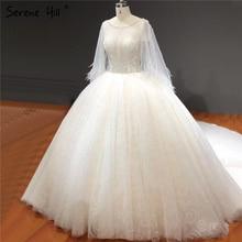 Белое свадебное платье с круглым вырезом, блестящими стразами и бисером, соблазнительные Роскошные свадебные платья с коротким рукавом, HA2281 на заказ