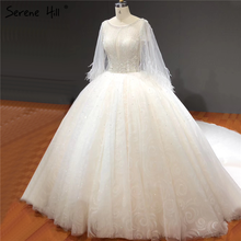 Branco o pescoço brilho diamante miçangas vestidos de casamento mangas curtas sexy luxo vestidos de noiva ha2281 feito sob encomenda
