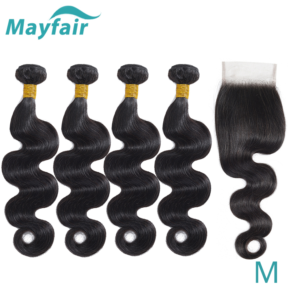 Peruvian Body Wave Bundles With Closure 4*4 Closure Middle Ration Mayfair Non-Remy Human Hair Bundles With Closure