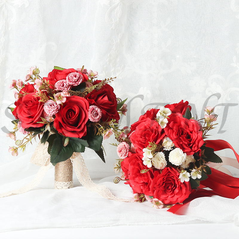 Rose Ramos De Novia Artificiales Hemp Rope Handle 30 Cm 30 Cm Rose Bouquet Free Shipping Wedding Accessories Red Rose Bouquet