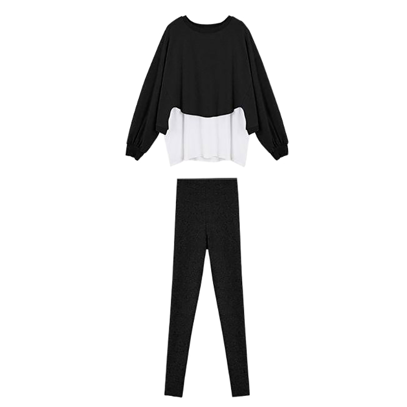 Women Loose Fake Two-piece Sweater Simple Long Section Slim Tops +Casual Solid Color Body Pants Two-Piece Suit